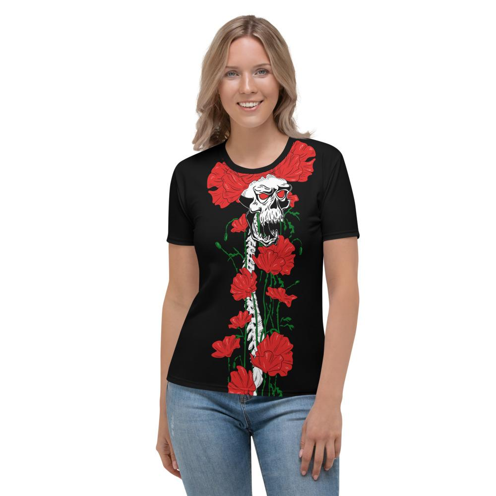 Skull Flowers Growing Up Women's T-shirt The Skullection XS