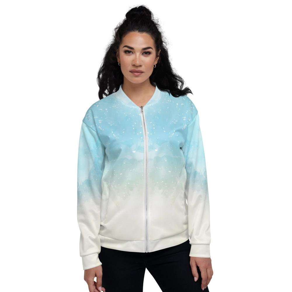Abstract Sky Blue Watercolor Unisex Bomber Jacket The Skullection XS