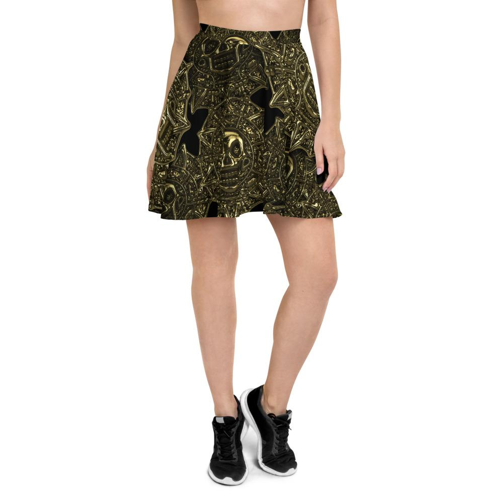 Aztec Skull Golden Coins Skater Skirt The Skullection XS