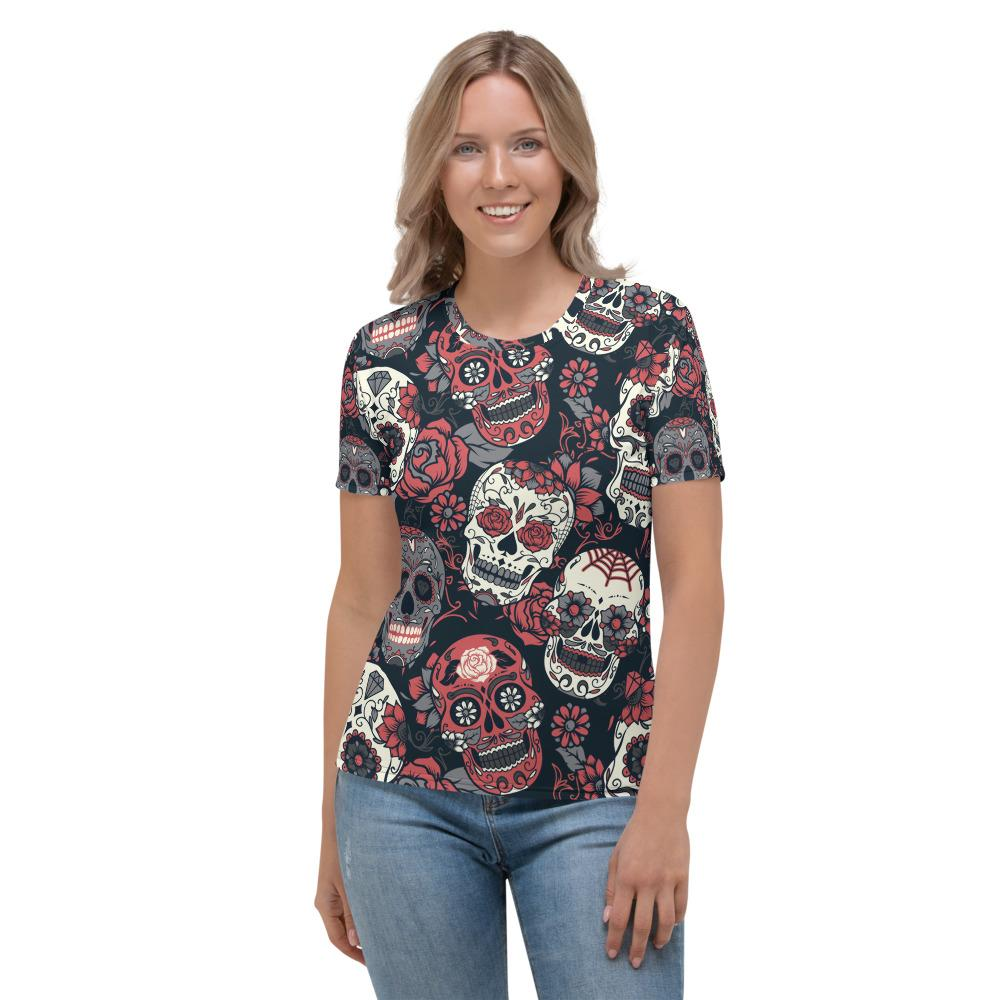 Day Of The Dead Pink Roses Sugar Skull Floral Women's T-shirt The Skullection XS