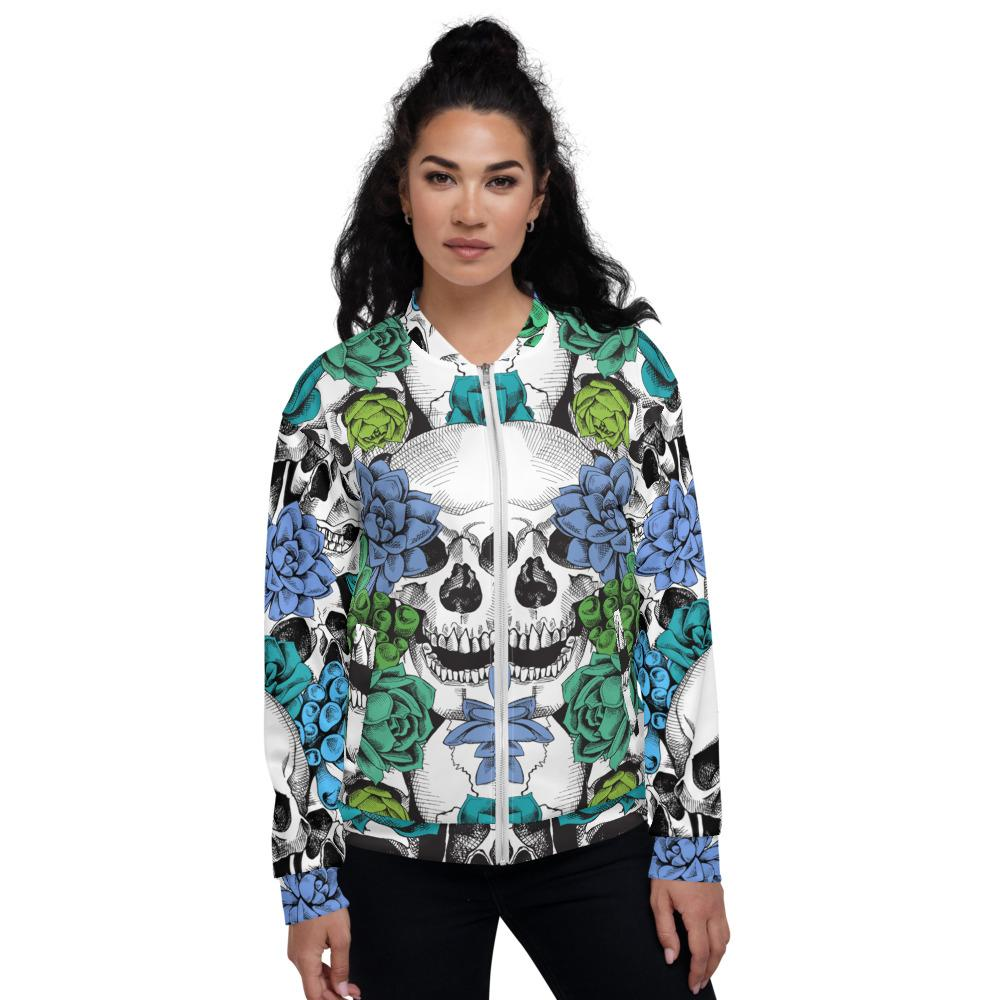 Skull And Succulent Plant Unisex Bomber Jacket The Skullection XS
