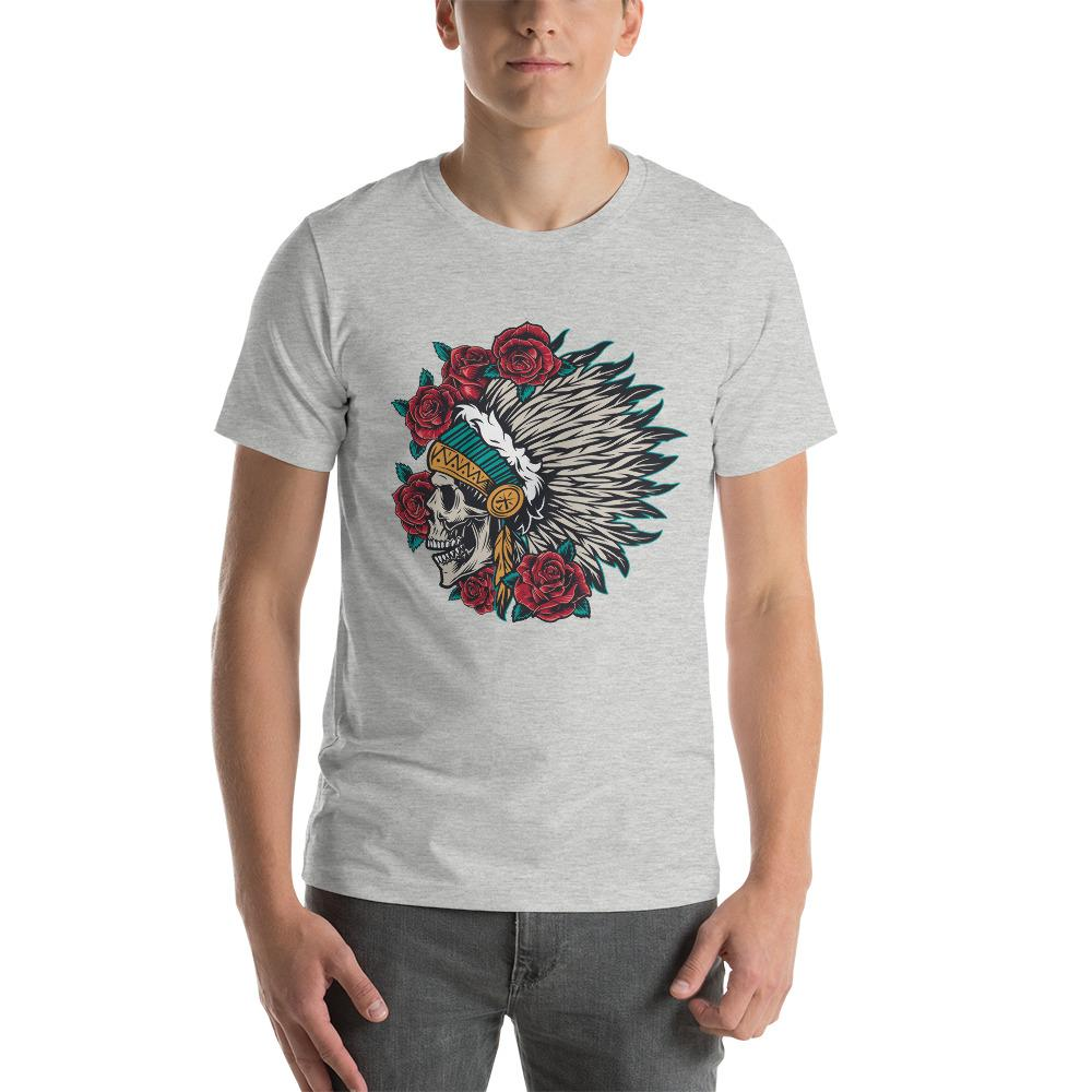 Wild West Vintage Colorful Native American Indian Chief Skull In Feathers Headwear T-Shirt The Skullection Athletic Heather S