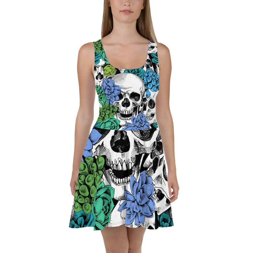 Skull And Succulent Plant Skater Dress The Skullection XS