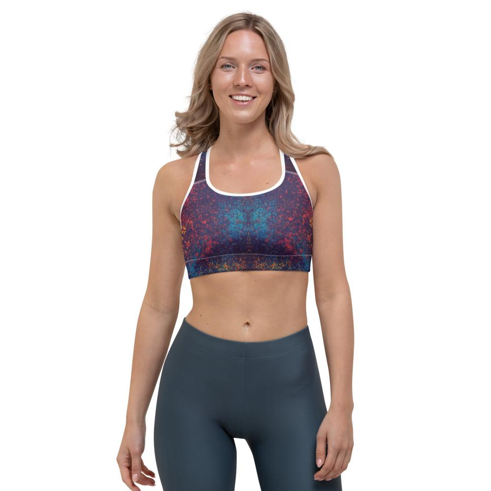Colorful Grunge Spots Sports bra The Skullection XS