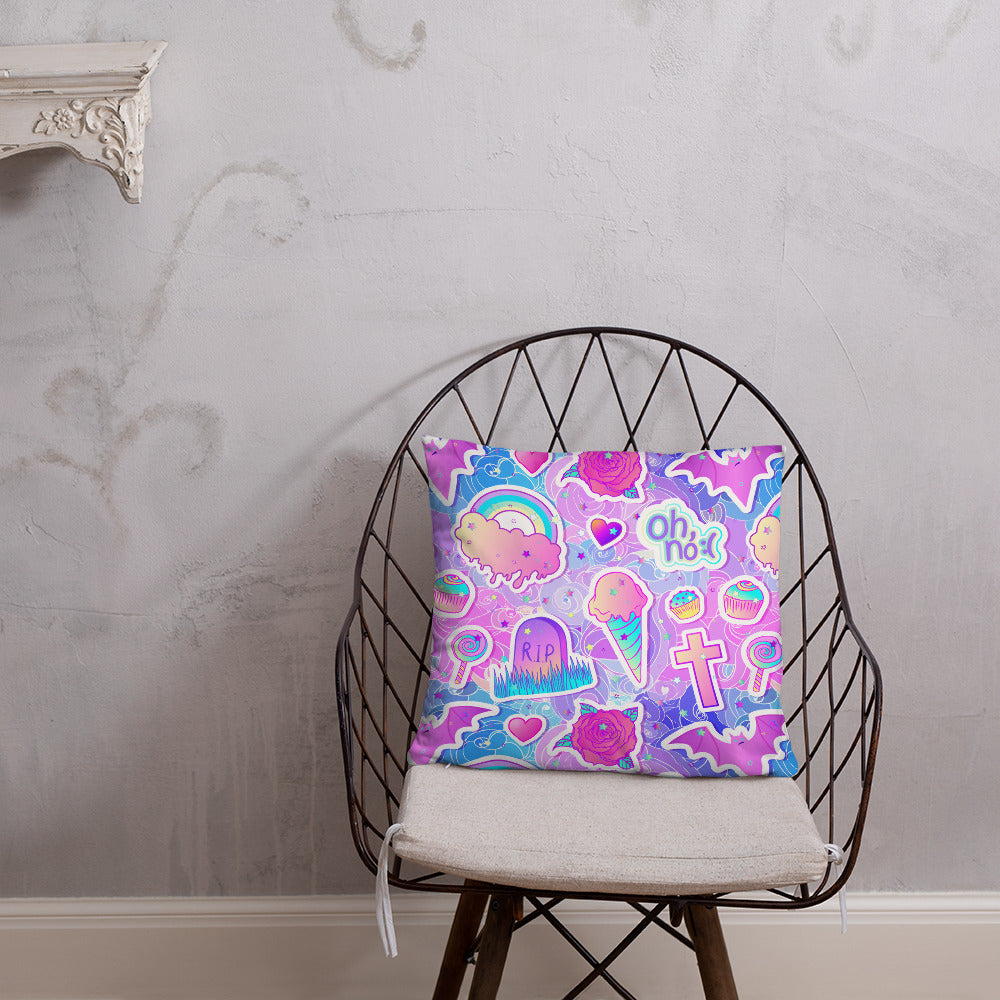 Pink Candies Sweets Lolipops Basic Pillow