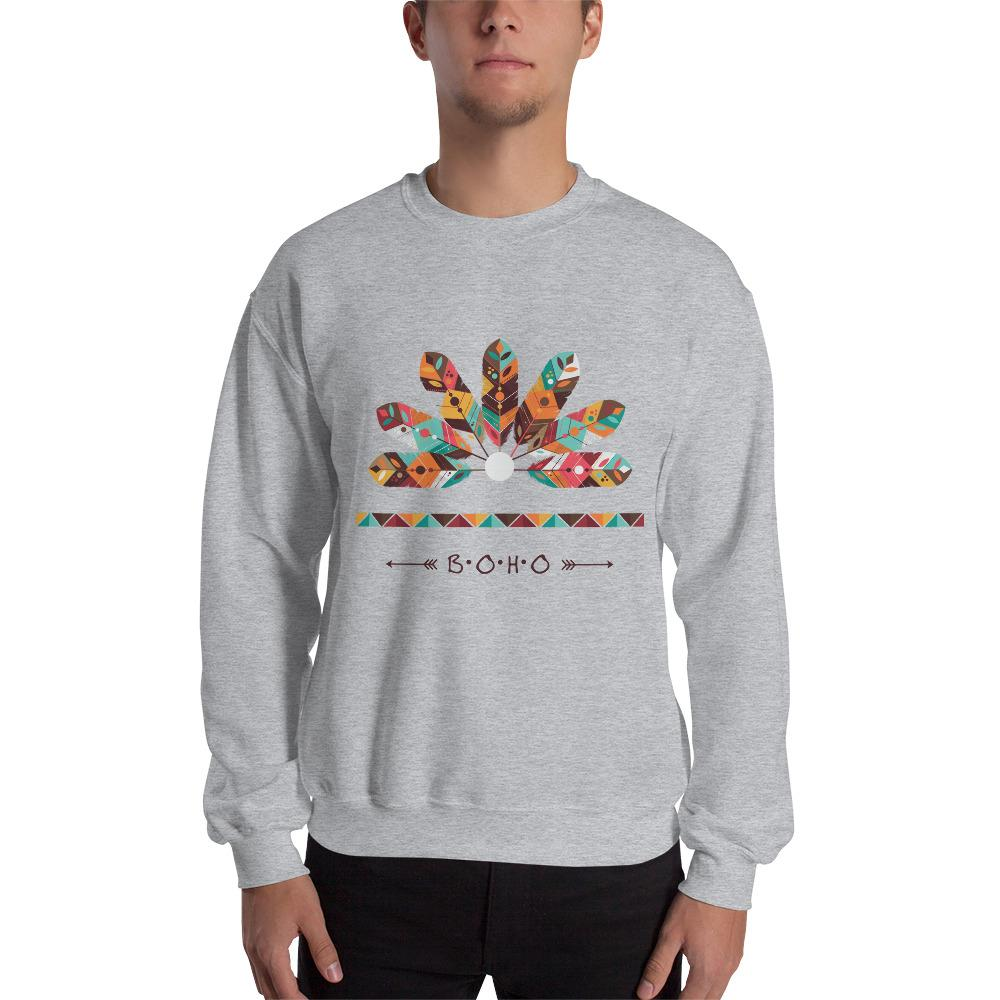 Native American Feather Decoration Sweatshirt The Skullection Sport Grey S