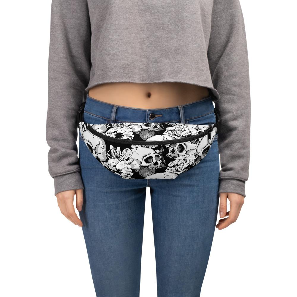Black White Skulls Day Of The Dead Fanny Pack The Skullection S/M