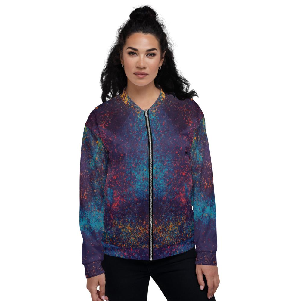 Colorful Grunge Spots Unisex Bomber Jacket The Skullection XS