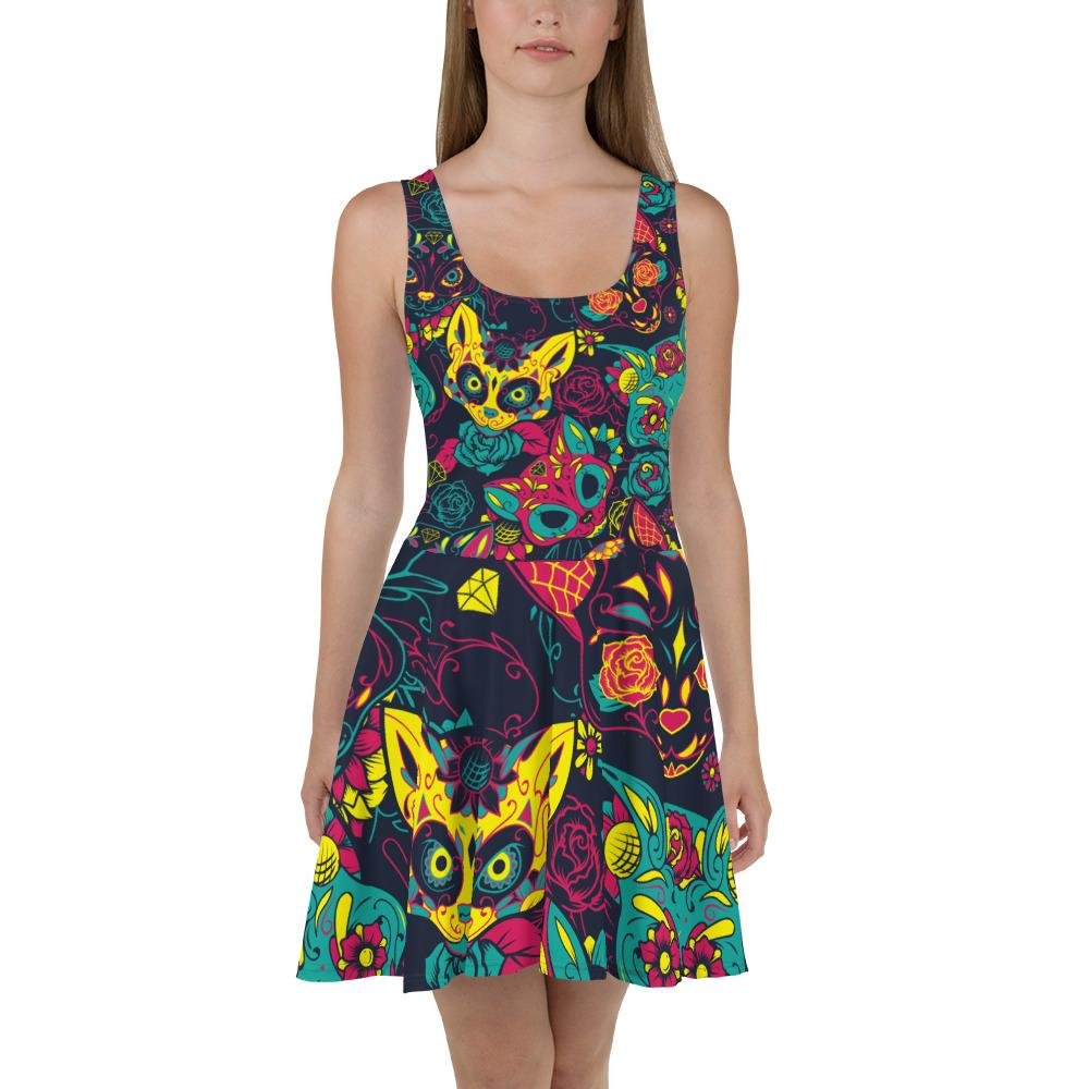 Colorful Sugar Skull Cats Skater Dress The Skullection XS