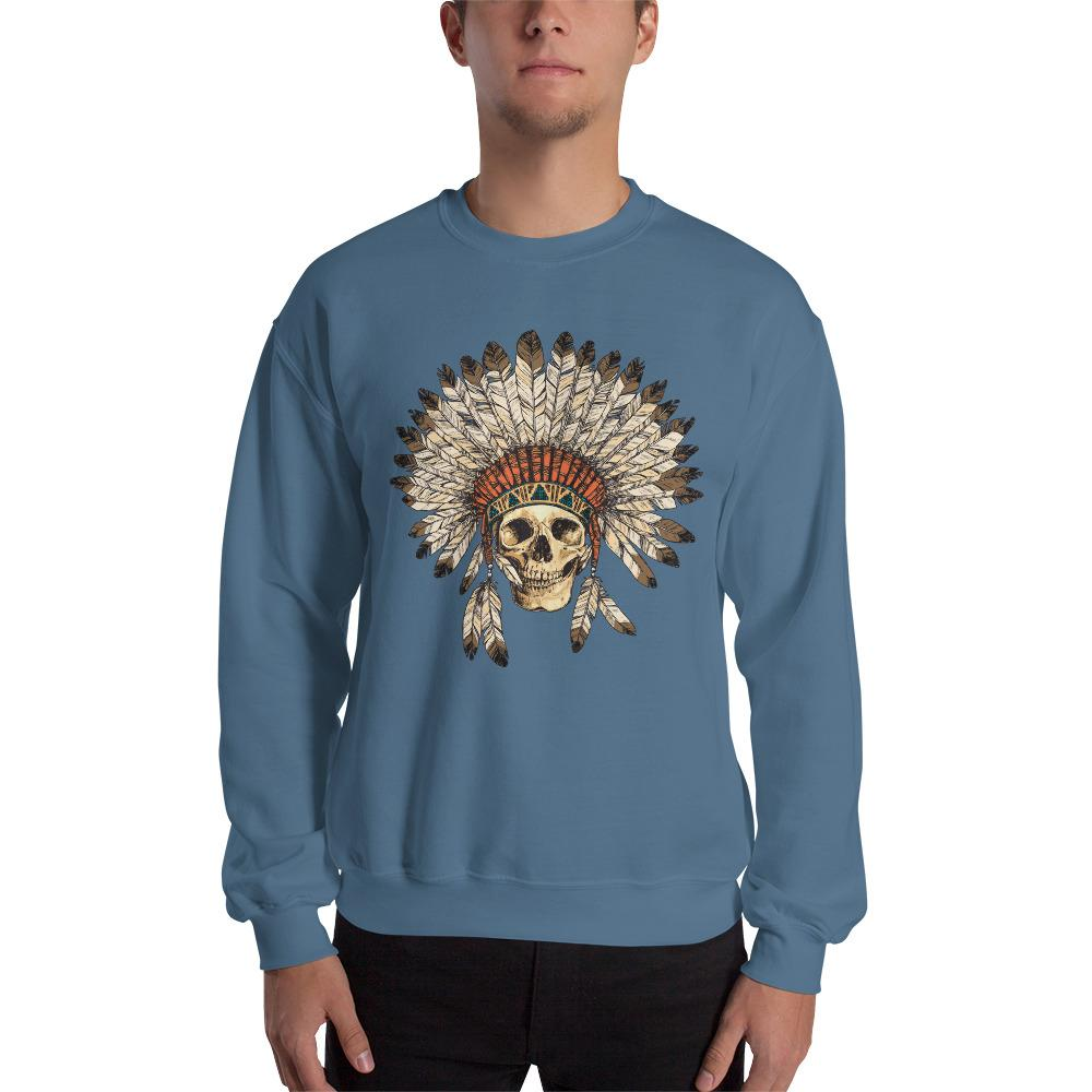 Native American Indian Headdress With Human Skull Sweatshirt The Skullection Indigo Blue S