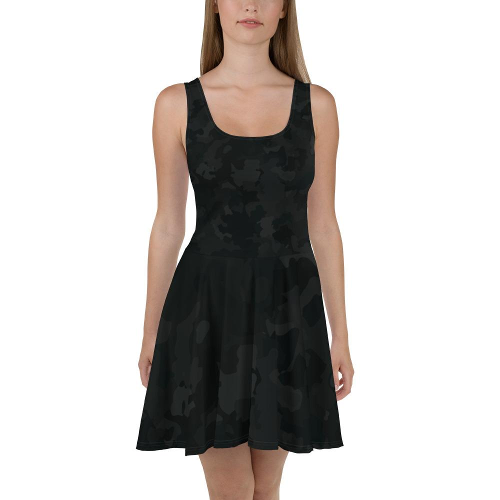 Black Camo Skater Dress The Skullection XS
