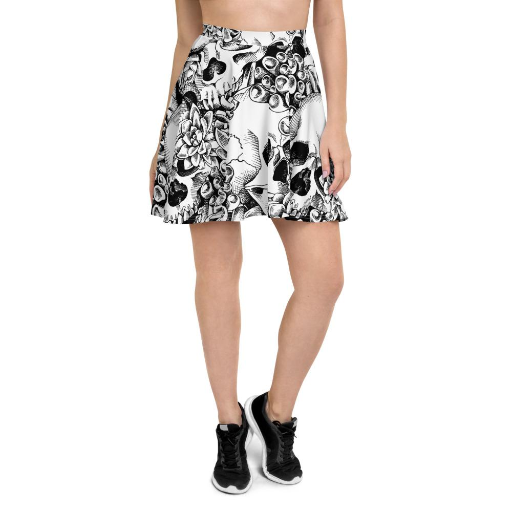 Succulent Plant Skull Flowers Skater Skirt The Skullection XS