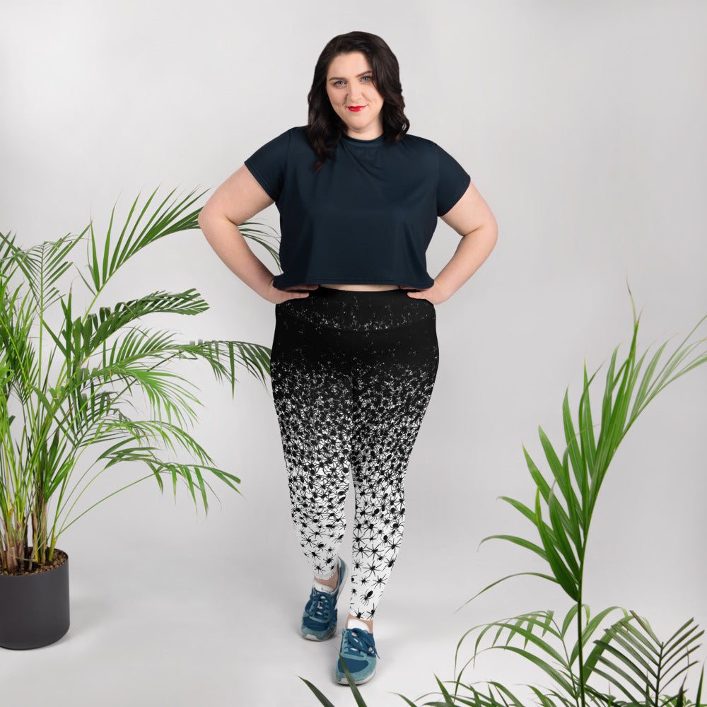 Creative Design Black Spiders Plus Size Leggings