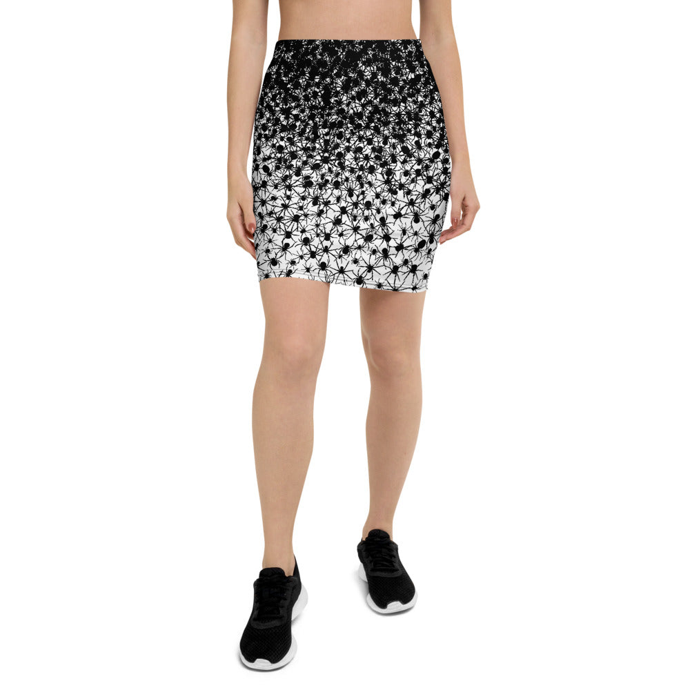 Creative Design Black Spiders Pencil Skirt
