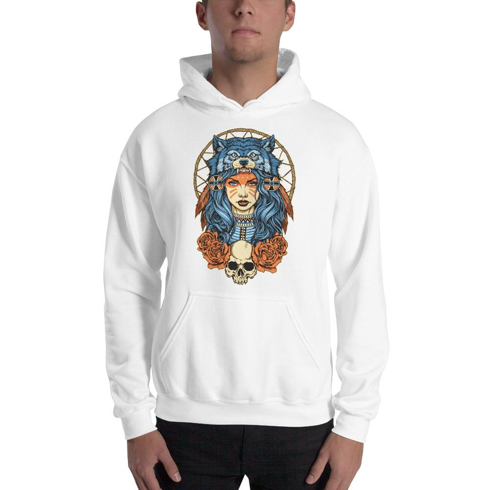 Native American Girl With Wolf Headdress Hoodie The Skullection White S