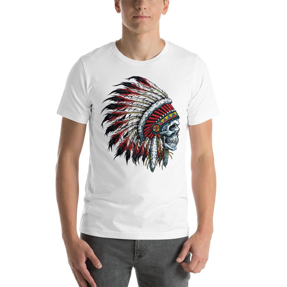Native American Indian Skull T-Shirt The Skullection White XS
