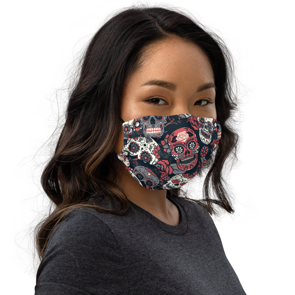 Day Of The Dead Pink Roses Sugar Skull Floral Face mask