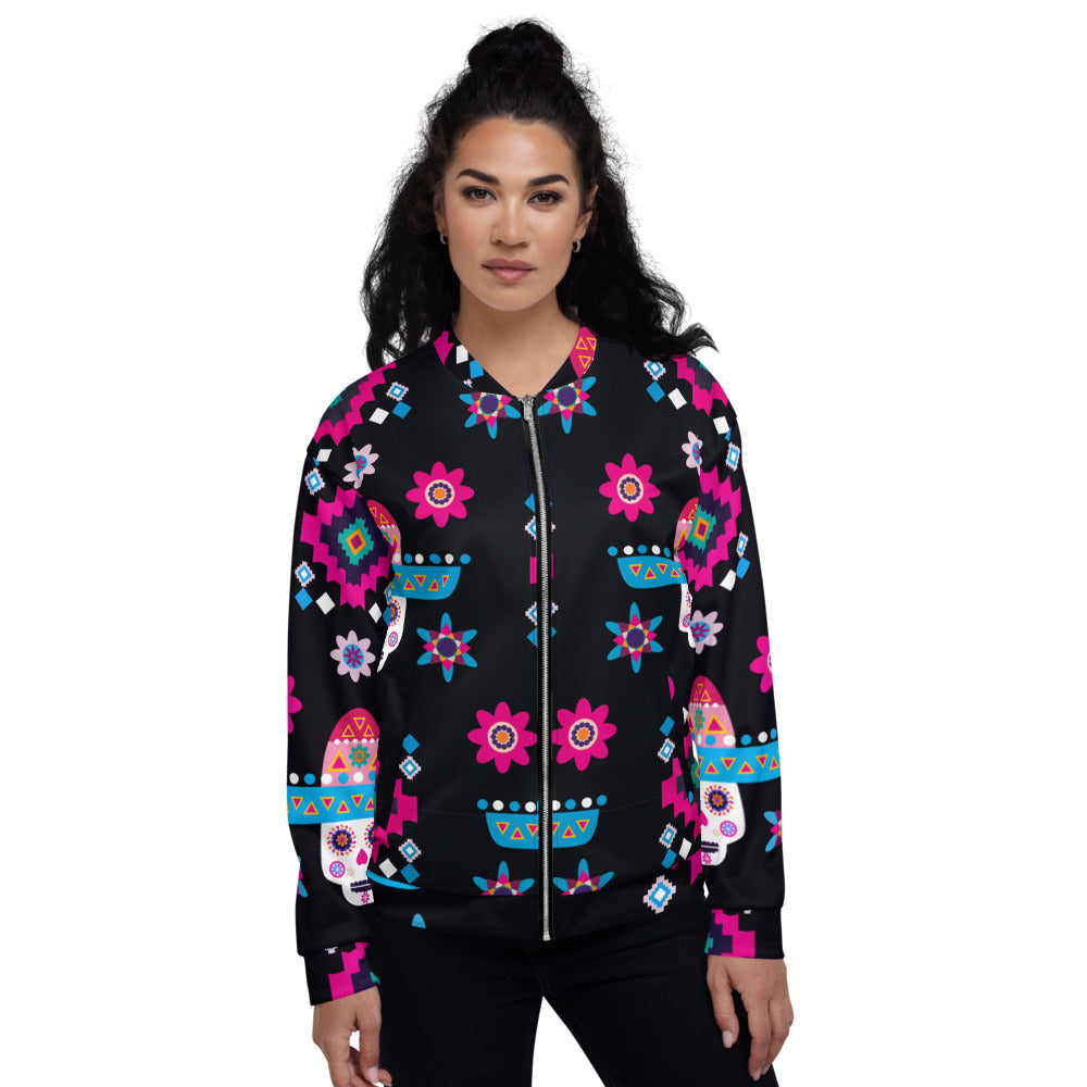 Mexican Sugar Skulls Colorful Flowers Unisex Bomber Jacket