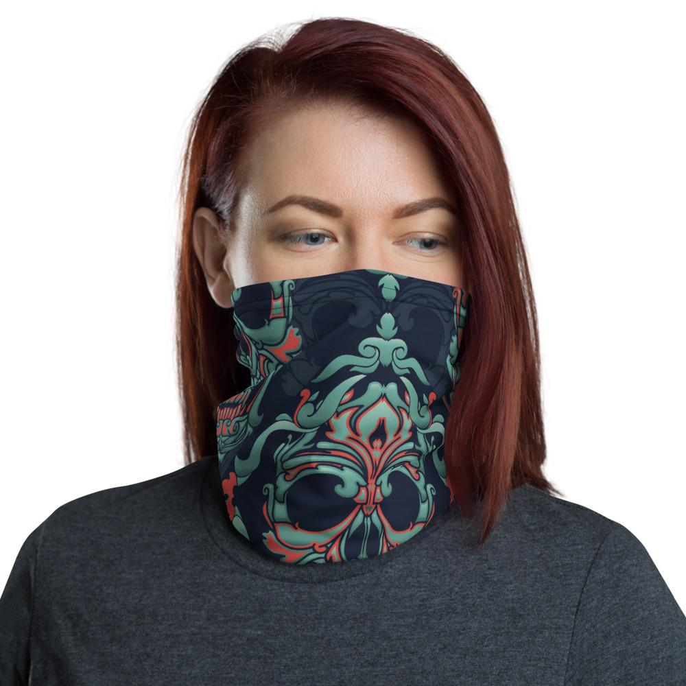 Ornamental Blue Skulls Neck Gaiter The Skullection