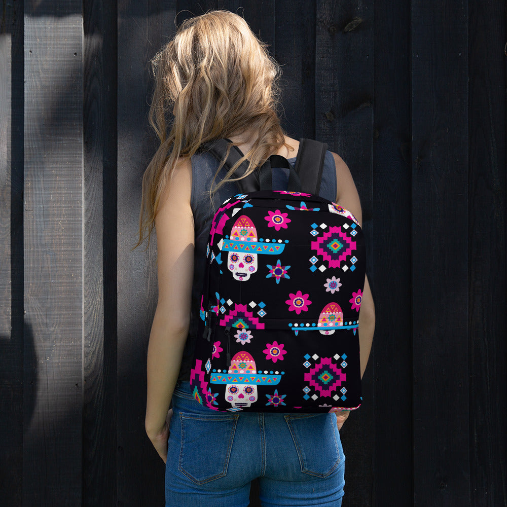 Mexican Sugar Skulls Colorful Flowers Backpack