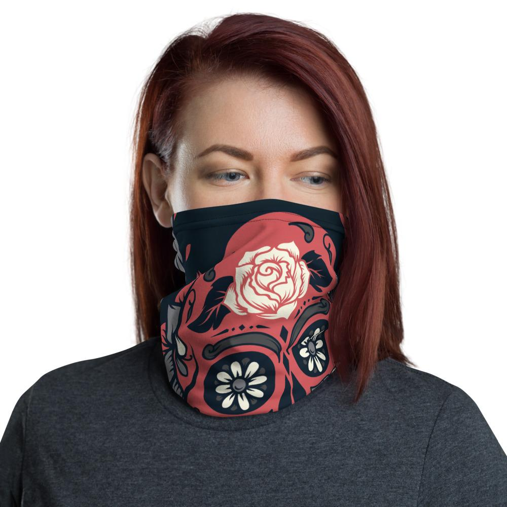 Day Of The Dead Pink Sugar Skull Floral Neck Gaiter The Skullection