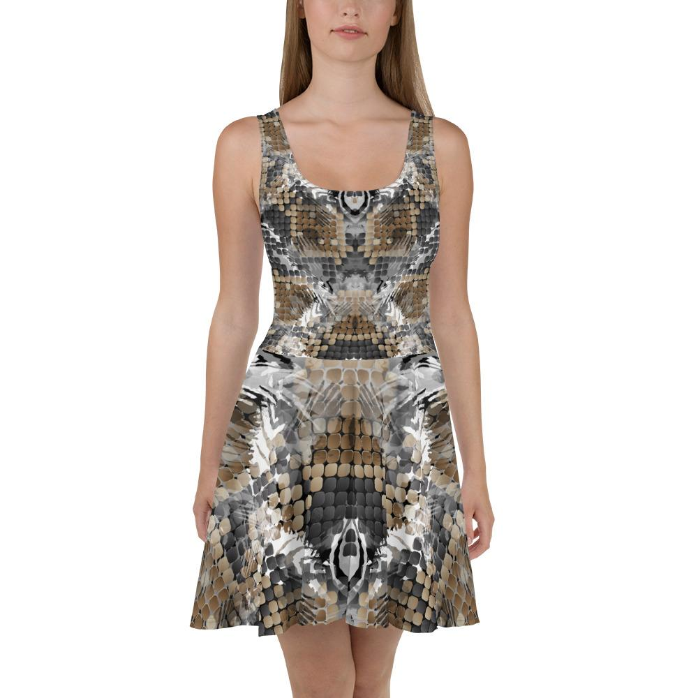 Wild Snake Skin Skater Dress The Skullection XS
