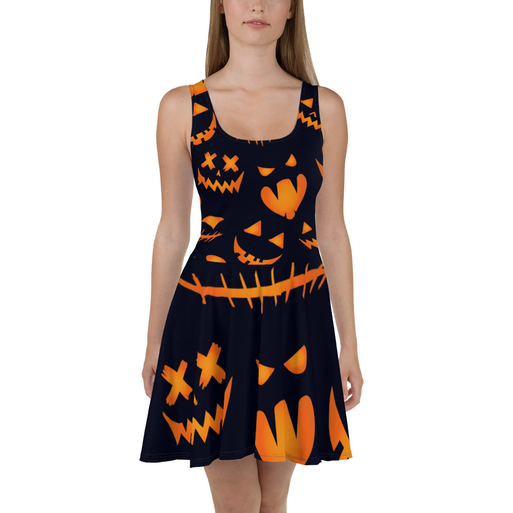 Pumpkin Halloween Skater Dress