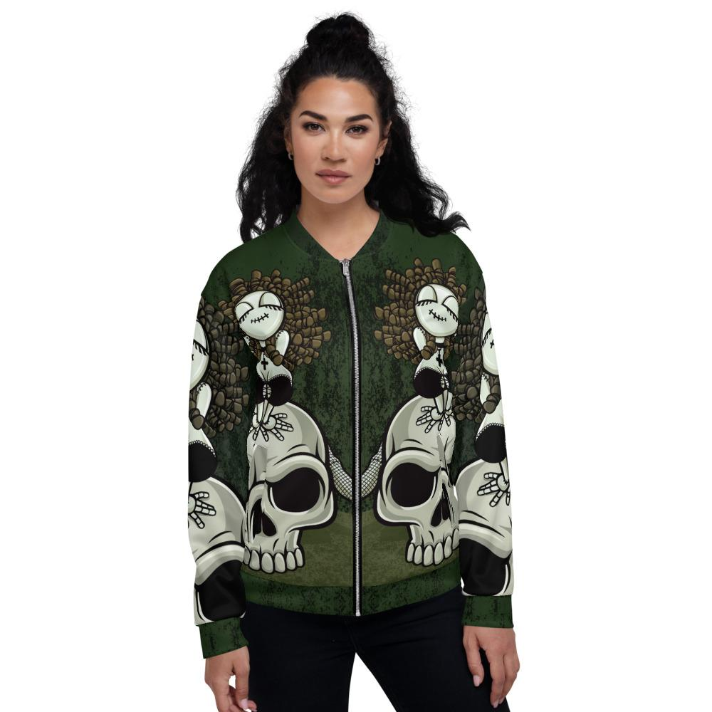 Zombie Pin-up Girl Straddling A Scowling Skull Unisex Bomber Jacket The Skullection XS