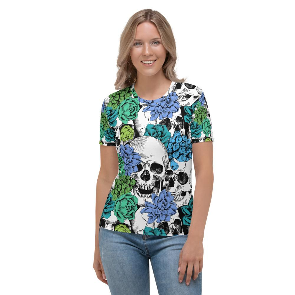Skull And Succulent Plant Women's T-shirt The Skullection XS