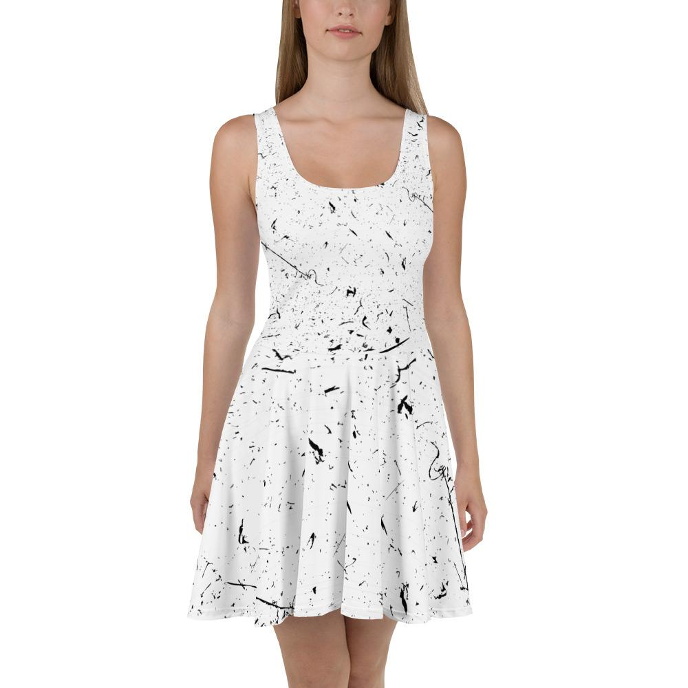 Grunge Lines And Dots Skater Dress The Skullection XS