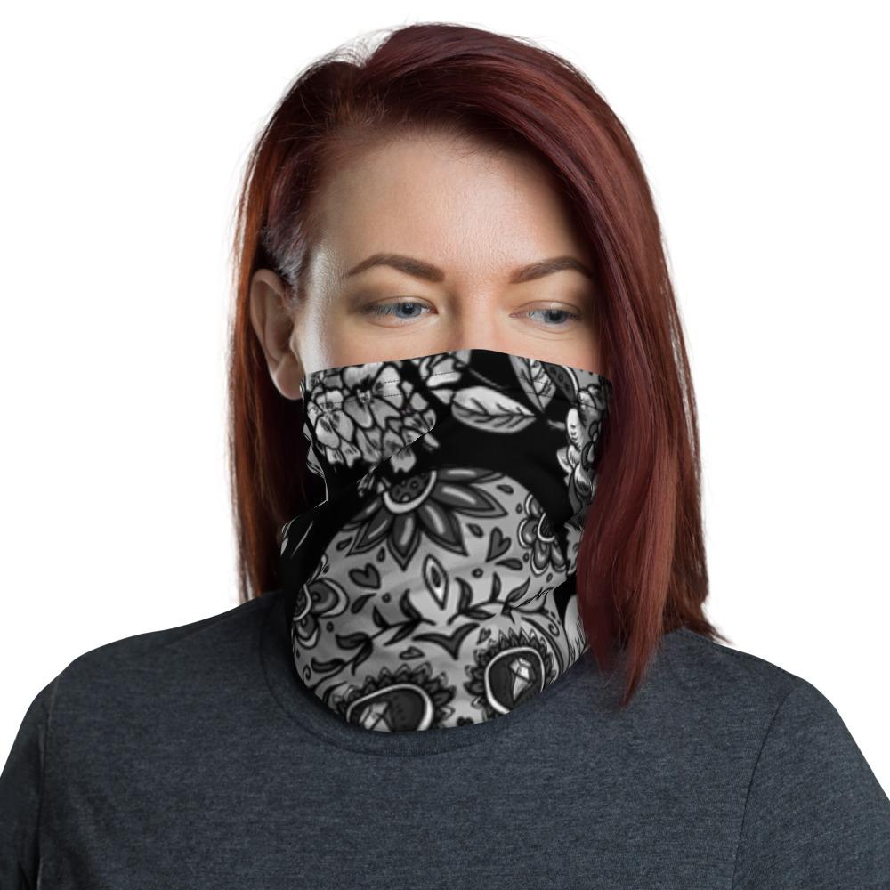 Monochrome Sugar Skulls With Roses Neck Gaiter The Skullection