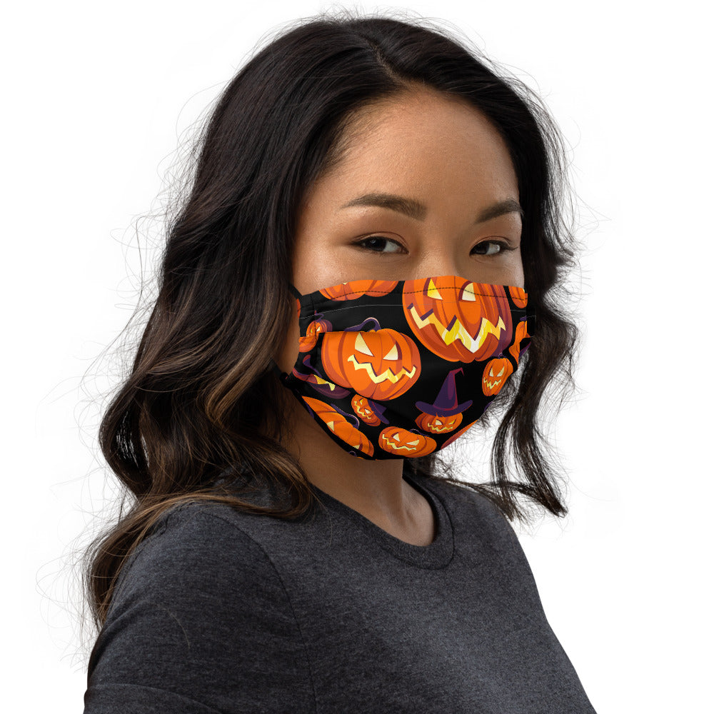 Pumpkins On Black Face mask