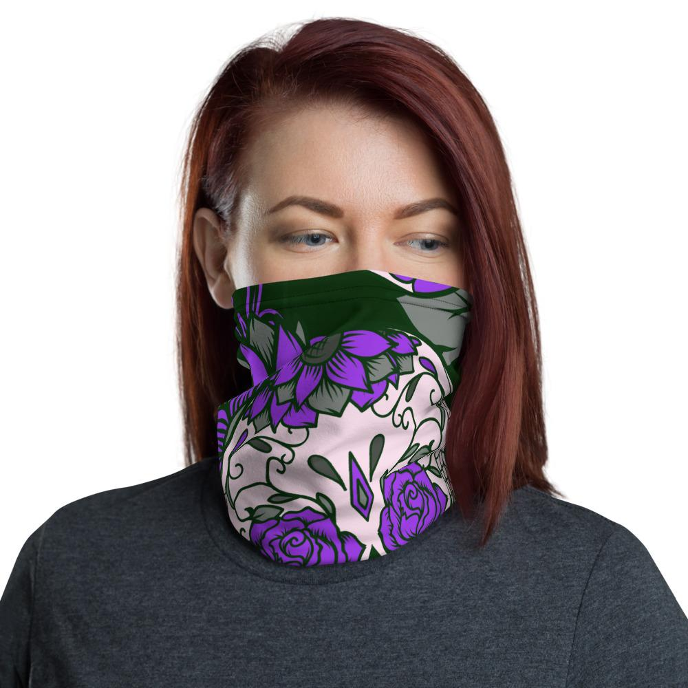 Purple Sugar Skull Neck Gaiter The Skullection