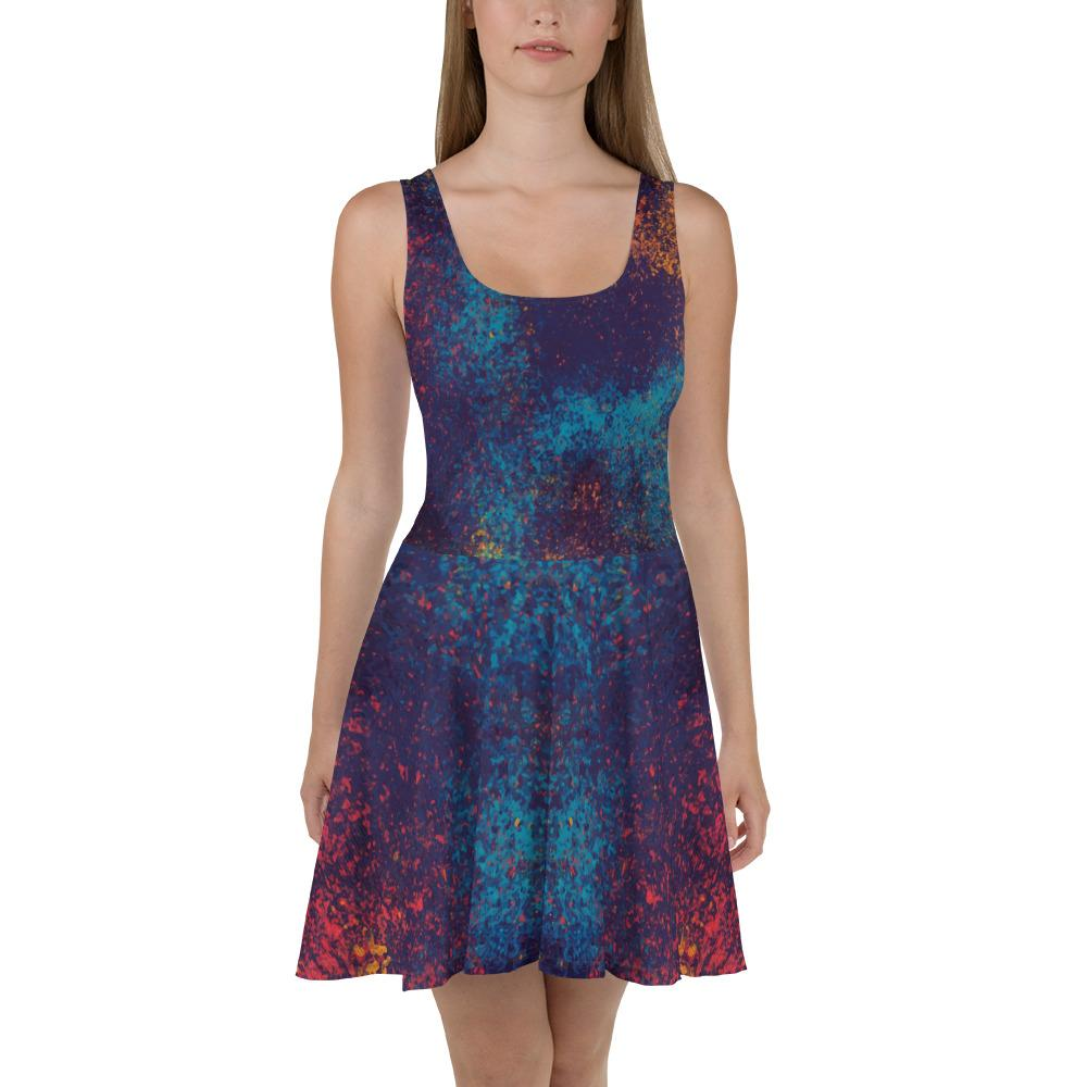 Colorful Grunge Spots Skater Dress The Skullection XS