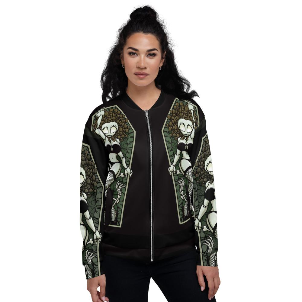 Zombie Pin-up Girl Nailed To Cross Unisex Bomber Jacket The Skullection XS