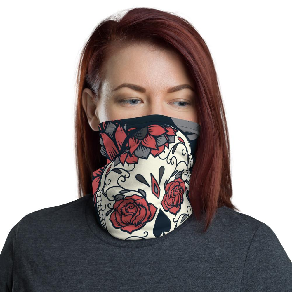 Day Of The Dead Pink Roses Sugar Skull Floral Neck Gaiter The Skullection