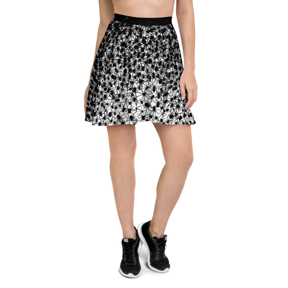 Creative Design Black Spiders Skater Skirt