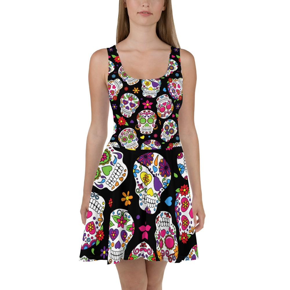 Sugar Skulls All Over The Place Skater Dress The Skullection XS