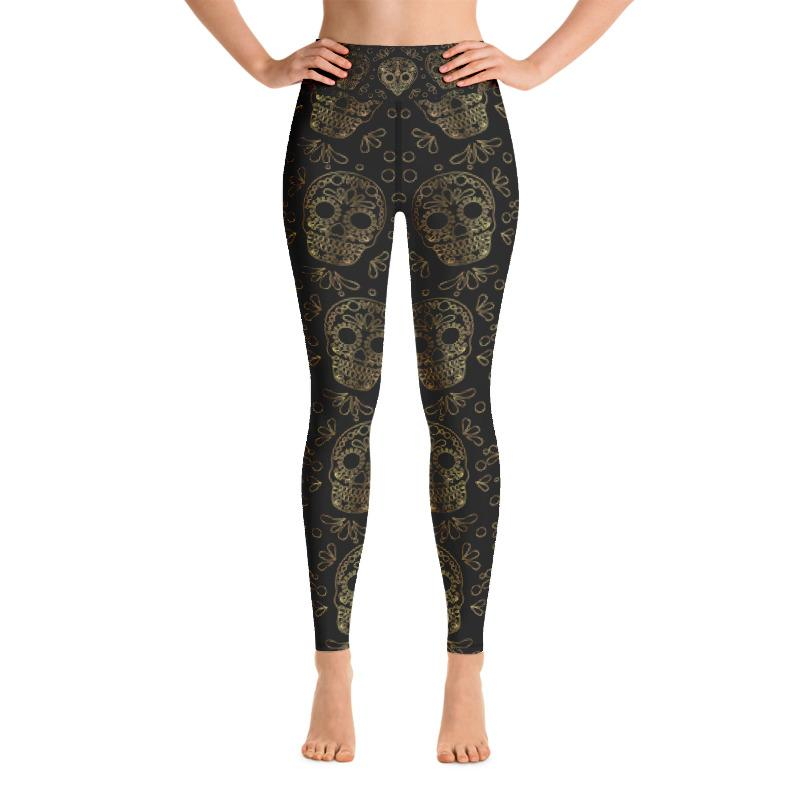 Golden Skulls Yoga Leggings Leggings The Skullection