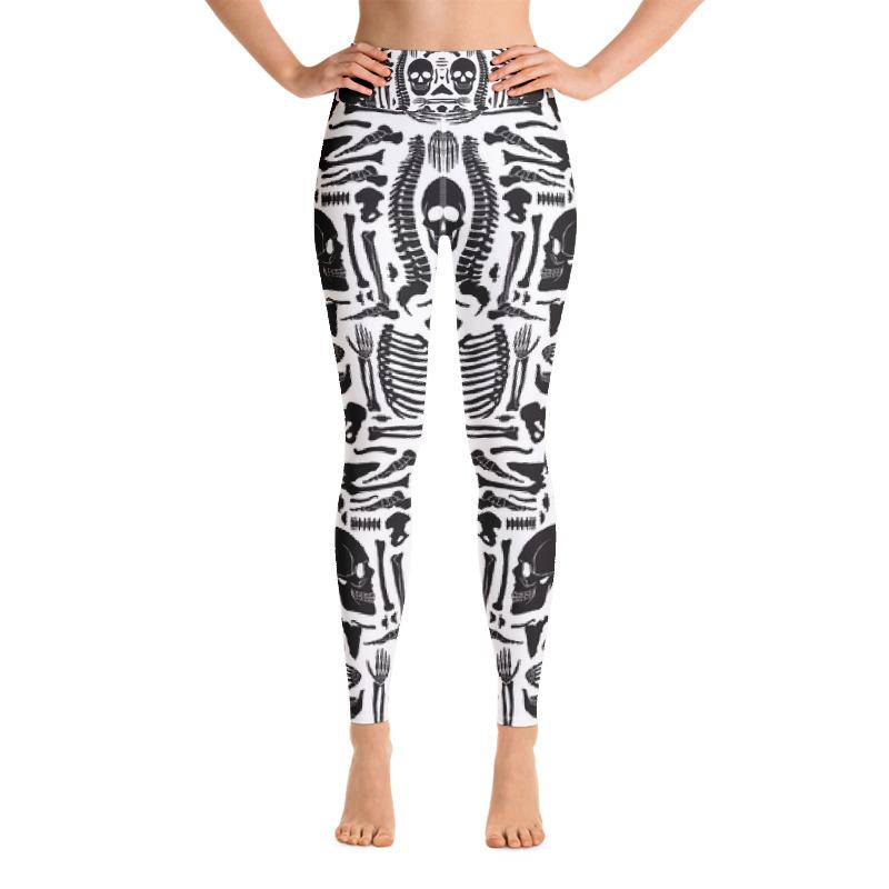 Monochrome Human Skeleton Parts Yoga Leggings Leggings The Skullection