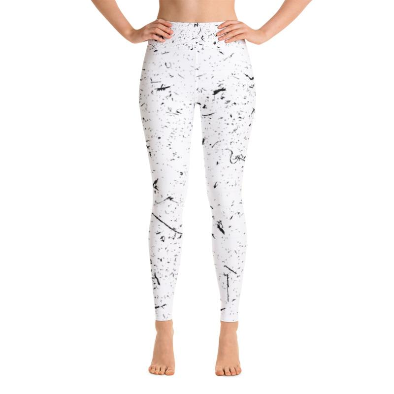 Grunge Lines And Dots Yoga Leggings Leggings The Skullection