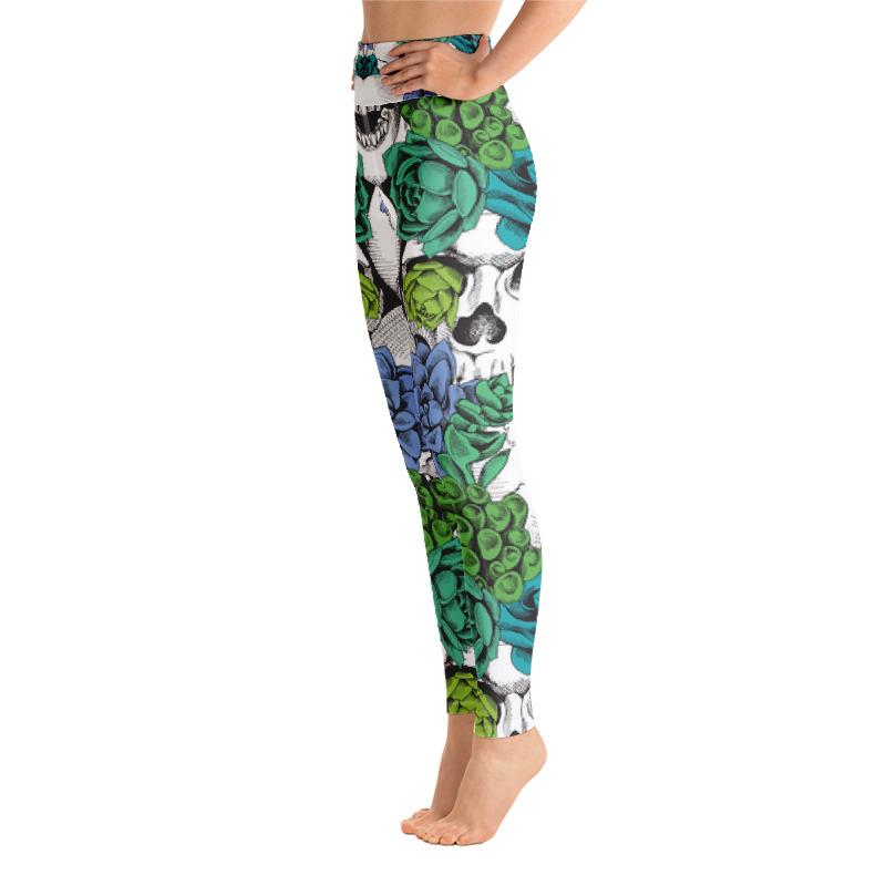 Skull And Succulent Plant Yoga Leggings The Skullection