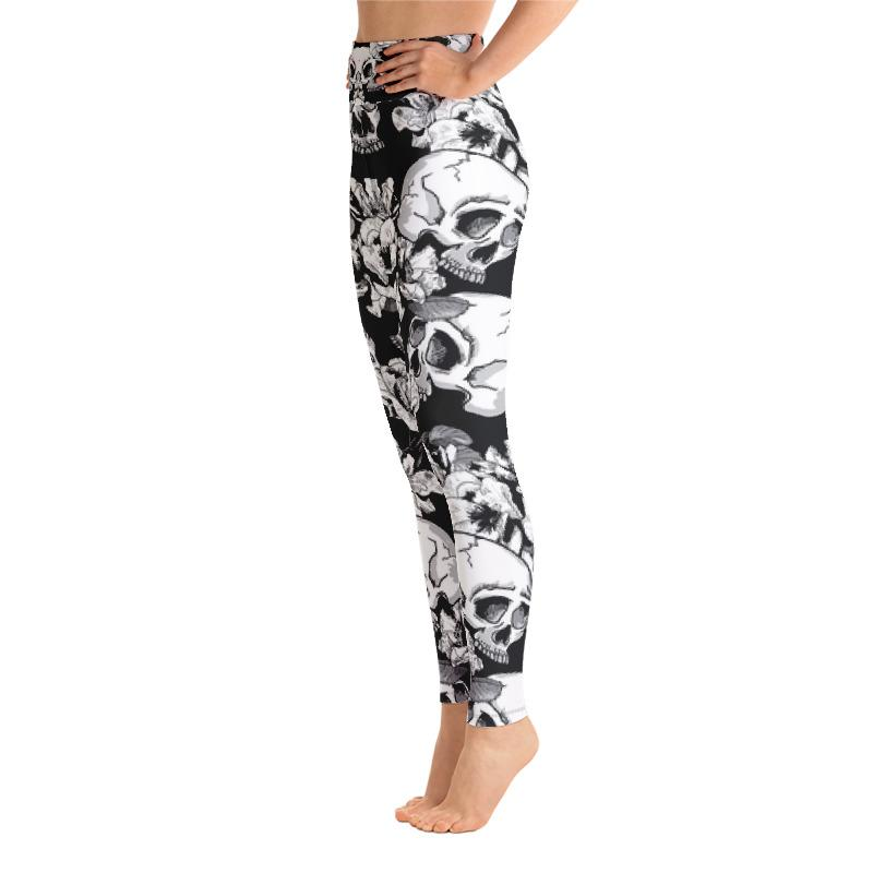 Black White Skulls Day Of The Dead Yoga Leggings Leggings The Skullection