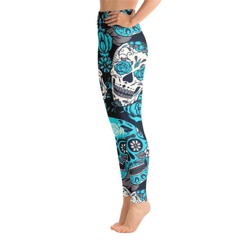 Sky Blue Sugar Skull Yoga Leggings The Skullection