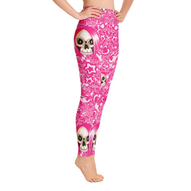 Pink Emo Girl Skull With Hearts And Stars Yoga Leggings The Skullection