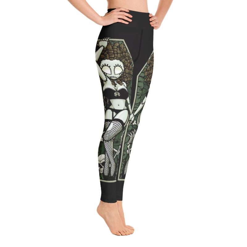 Zombie Pin-up Girl Coffin Wake Yoga Leggings The Skullection
