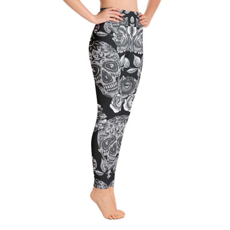 Monochrome Sugar Skulls With Roses Yoga Leggings Leggings The Skullection