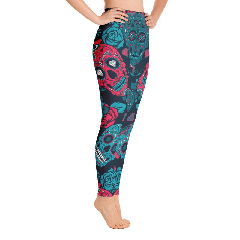 Day Of The Dead Colorful Pinky Sugar Skull Yoga Leggings Leggings The Skullection