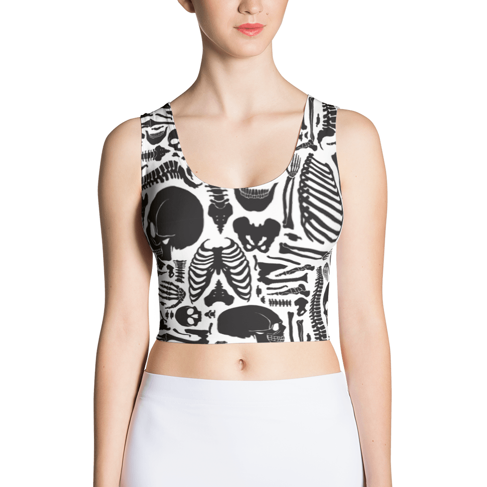 Monochrome Human Skeleton Parts Crop Top The Skullection XS