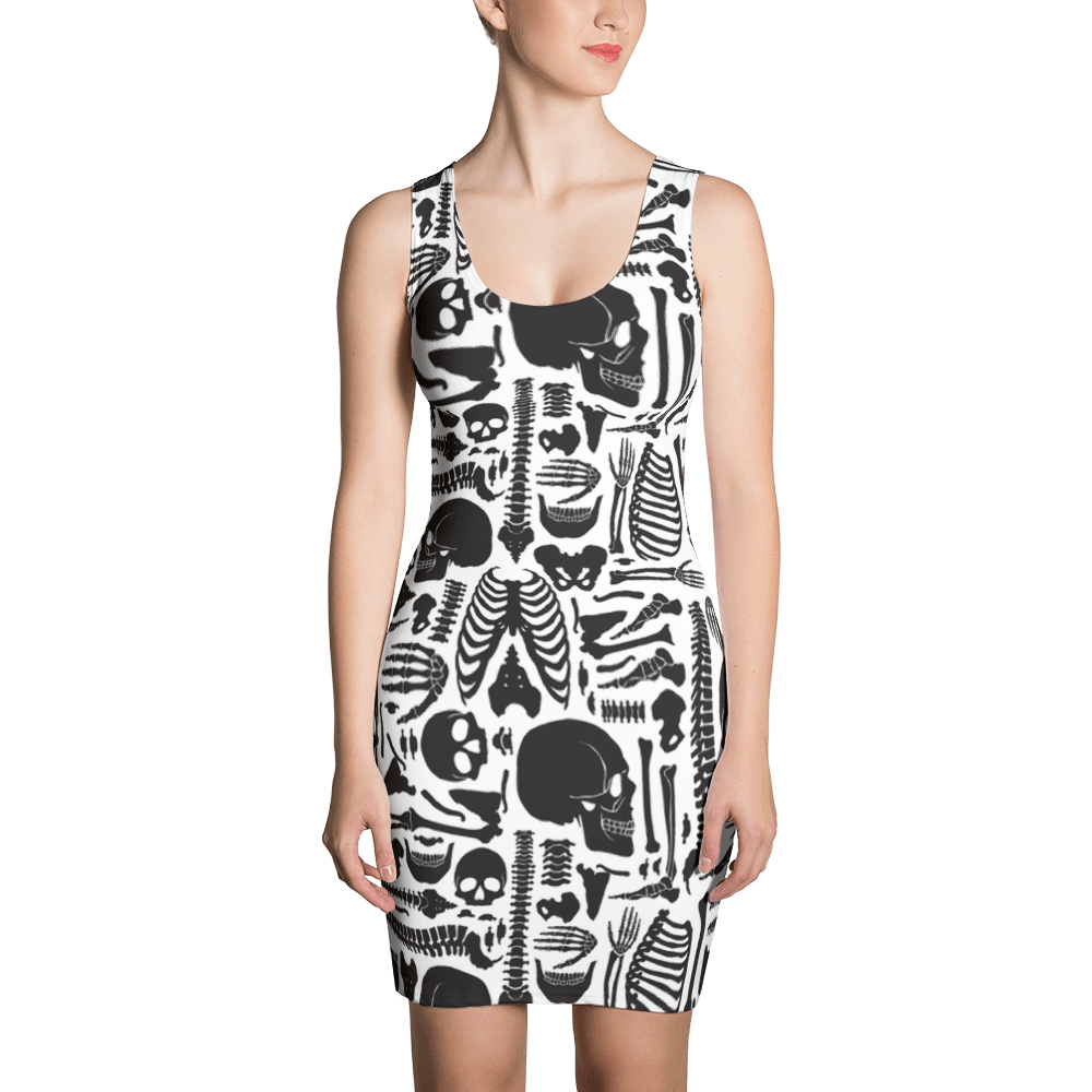 Monochrome Human Skeleton Parts Dress The Skullection XS
